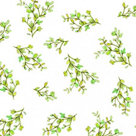 Radiance Clothworks by Sue Zipkin Small Leaf Clusters on White background