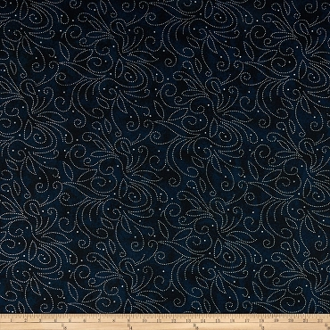 Fit for a Queen Quilt Backing 108 by 110 Westrade Textiles Scrolls Navy