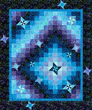 Quilt Kit Top Fantasy Stars Tonga Timeless Treasures 60 x 72