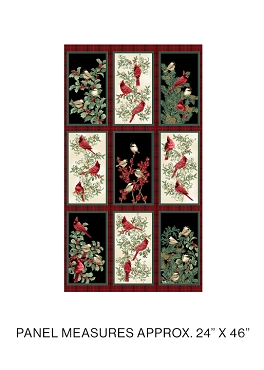 Winter Elegance Benartex Winter Elegance Birds Panel 24 x 44