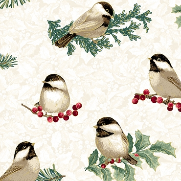Winter Elegance Benartex Winter Chickadees Natural