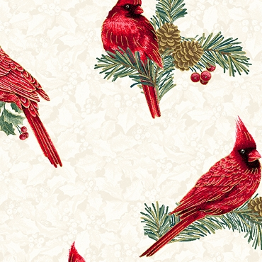 Winter Elegance Benartex Winter Cardinals Natural