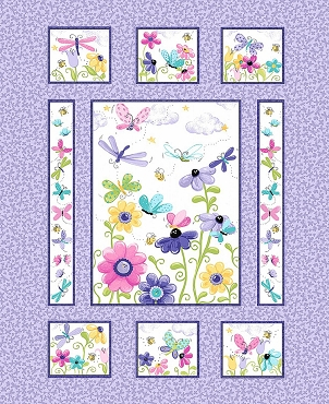 Susybee Flutter, the Butterfly Dragonfly Floral Panel Lilac One Yard