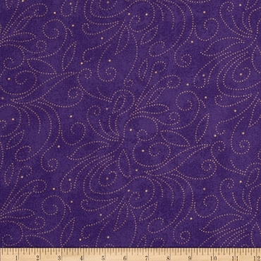 Fit for a Queen Quilt Backing 108 by 110 Westrade Textiles Scrolls Purple