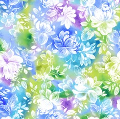 Mimosa QT Fabrics Watercolor Floral Blue
