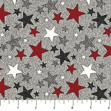 My America Northcott Grey Multicolor Stars