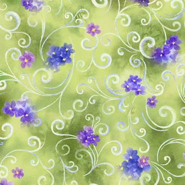 Hydrangea Blossoms Quilting Treasures Scroll and Floral Moss