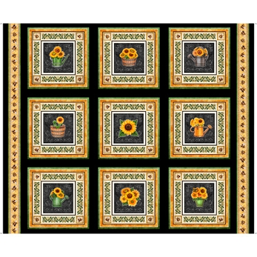 Always Face The Sunshine QT Fabrics Sunflower panel 12  Picture Patches  Black 36 by 44
