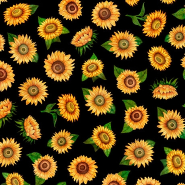 Always Face The Sunshine QT Fabrics Small Tossed Sunflowers Black