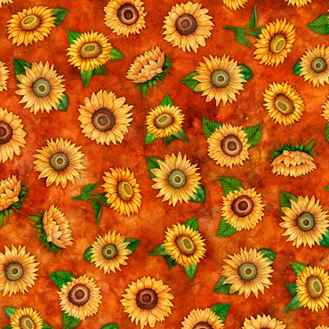 Always Face The Sunshine QT Fabrics Small Tossed Sunflowers Rust