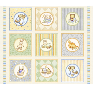 Lullaby QT Fabrics Baby Animal Picture Panel 44 x 36 Patches-Cream
