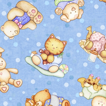 Lullaby  QT Fabrics Tossed Baby Animals Blue