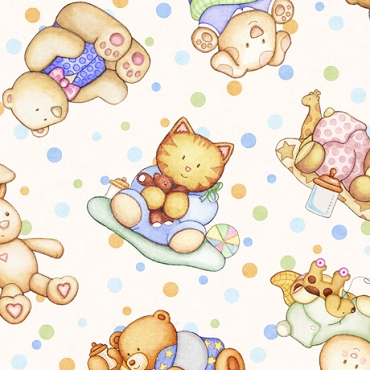 Lullaby  QT Fabrics Tossed Baby Animals Cream