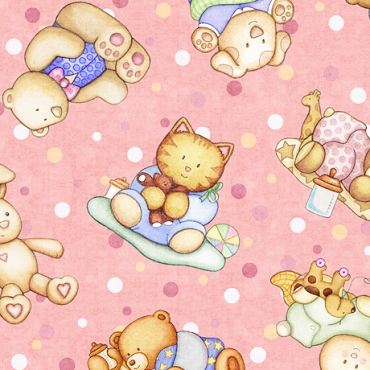 Lullaby  QT Fabrics Baby Animal Picture Patches-Pink