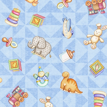 Lullaby  QT Fabrics Tossed Toys-Blue