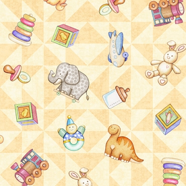 Lullaby  QT Fabrics Tossed Toys-Buttercup