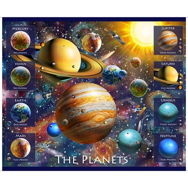 Artworks XVIII Planets QT Fabrics Digital Planet Panel 44 x 36