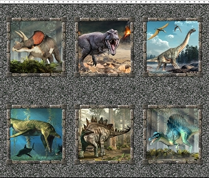 Jurassic In the Beginning Fabrics Multicolor Small Dinosaur  Panel 44 x 36