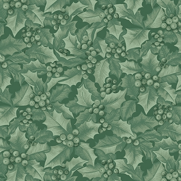 Winter Elegance Benartex Holly and Berries Medium Green