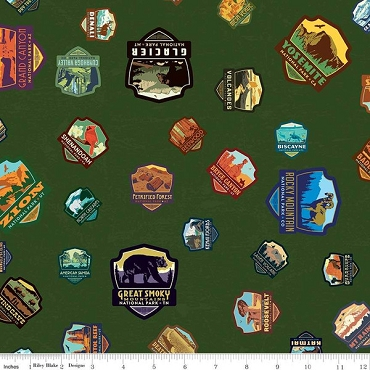 National Parks Panel Riley Blake Patches Green