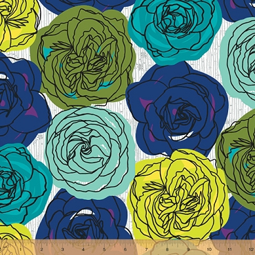 Norma Rose Windham Fabrics Rose Garden Teal