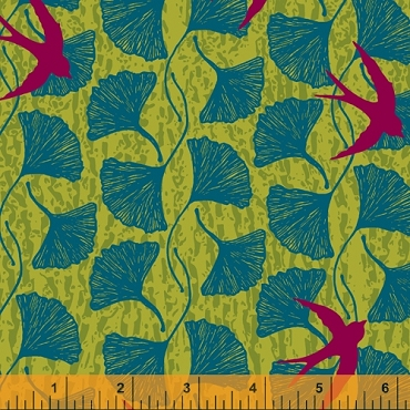 Norma Rose Windham Fabrics Song Birds  Acid Green