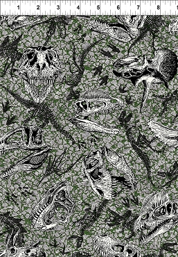 Jurassic In the Beginning Fabrics Gray Dinosaur Fossils