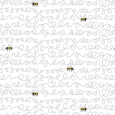 Sunny Bee Andover Fabric  Buzzin Bee White
