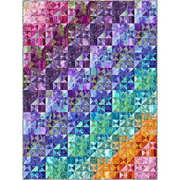 Quilt Kit Top Splendid Split Stars Northcott 54.5 x 72.5