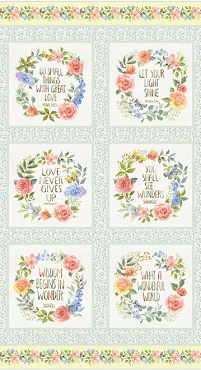 Garden Inspriations Henry Glass & Co. Inspirational Blocks Panel 27 x 44