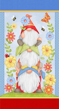Gnome is Where Your Garden Grows Henry Glass & Co. Gnomes Panel Multi