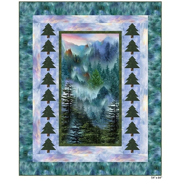 Quilt Kit Top Mountain Forest Timeless Treasures 54 x 64
