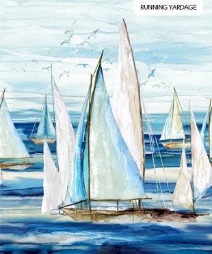 Sail Away Northcott Border Boats Indigo Multi 24 x 42