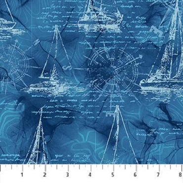 Sail Away Northcott Mariners Map Sail Boat Drawing Indigo Multi