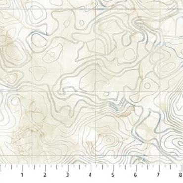 Sail Away Northcott Contour Map Beige Multi
