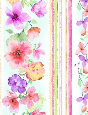 Spring Song Timeless Treasures Digital Spring Watercolor Floral 11 Stripe