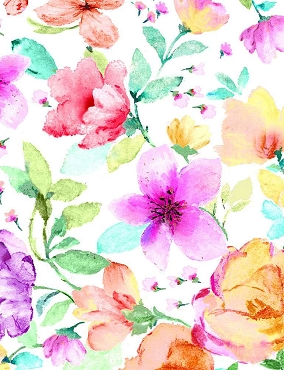 Spring Song Timeless Treasures Digital Medium Watercolor Spring Florals