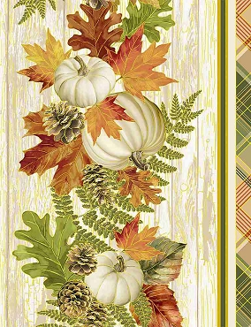 Autumn Symphony Timeless Treasures White Harvest Metallic 11 inch stripe
