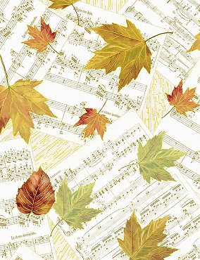 Autumn Symphony Timeless Treasures Falling Leaves on Musical Notes