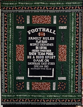 Quilt Kit Top Football Family Rules 59.5 x 71.5