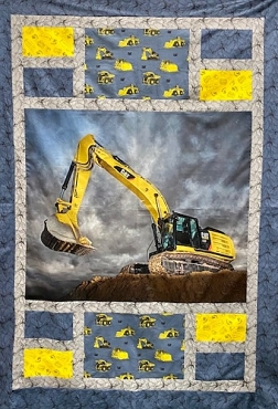 Quilt Kit Top Cat Excavator Riley Blake 54.5 by 76.5