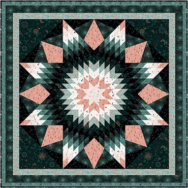 Quilt Kit Top Starlight  Emerald  Robert Kaufman 75 x 75
