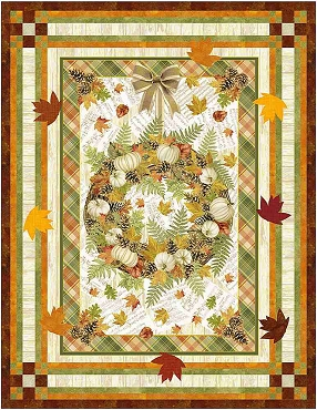 Quilt Kit Complete Fall Framed Timeless Treasures  34 x 44