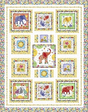 Quilt Kit Top Playful Elephants QT Fabrics  45 x 57