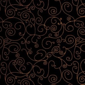 Fit for a Queen Quilt Backing 108 by 110 Westrade Textiles Willow Black Gold