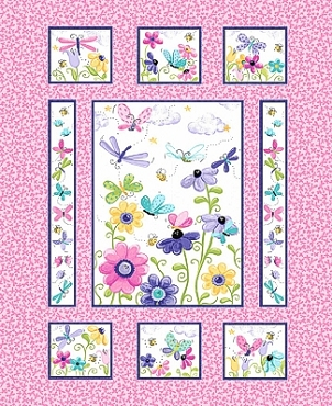 Susybee Flutter the Butterfly Dragonfly Floral Panel Pink 36 x 44