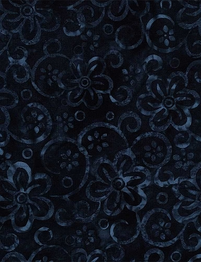 Tonga Batik Pretty Flowers Navy
