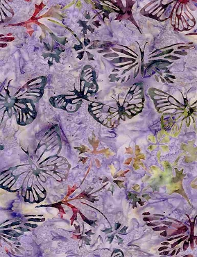 Tonga Batik Timeless Treasures Hyacinth Multi Hyacinth butterflies