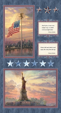 America Patriotic Panel by Thomas Kinkade 24 x 44