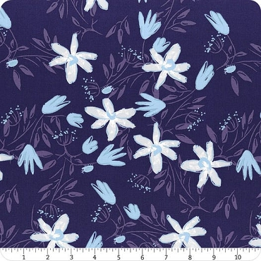 Blue Goose Clothworks  Floral Navy Blue